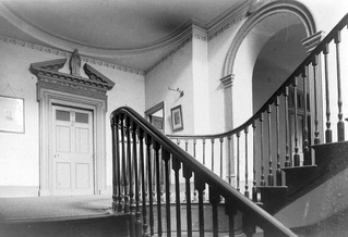 Old House interior: doorways, stairs from Ness Hall c 1820